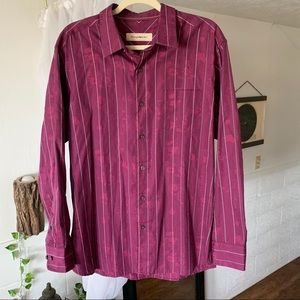 Tommy Bahama Maroon Paisley Stripe Button Up